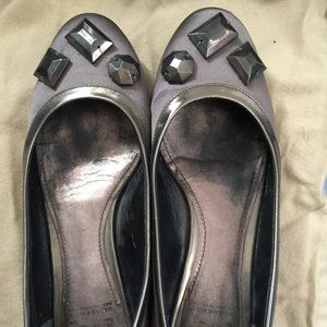 BURBERRY Satin Silver Gray Leather